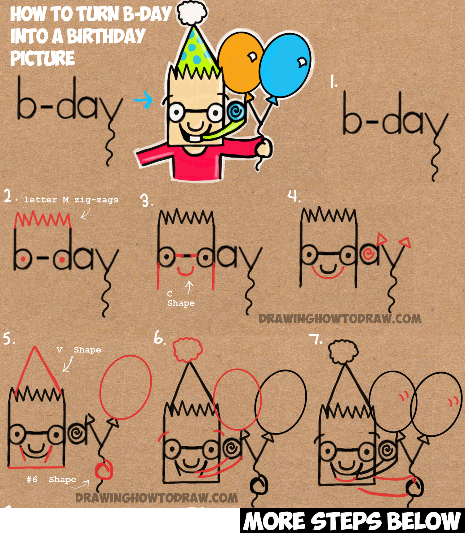 easy drawing of birthday party ; howtodrawhappybirthdaypicturefromb-day-word