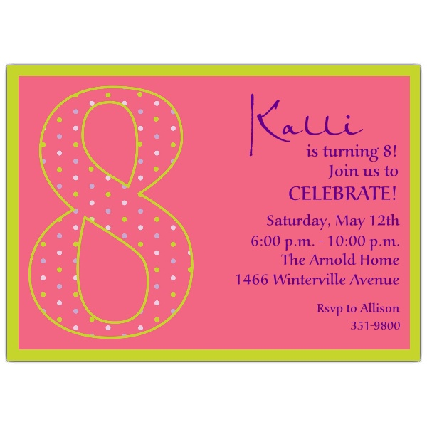 eighth birthday invitation wording ; 8th-Birthday-Girl-Dots-Invitations-p-602-57-1041-z