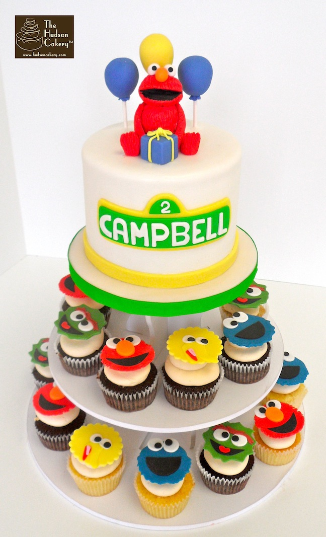 elmo birthday cake edible image ; sesame-st-cupcakes-copy