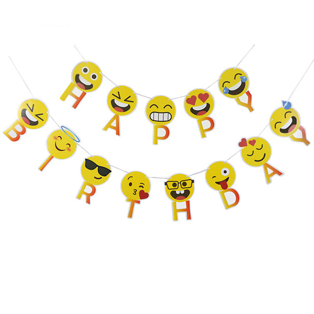 emoji happy birthday banner ; 1-Set-Smiley-Face-Emoji-Happy-Birthday-Letters-Banners-Expression-Paperboard-Hanging-Buntings-Birthday-Party-Decoration