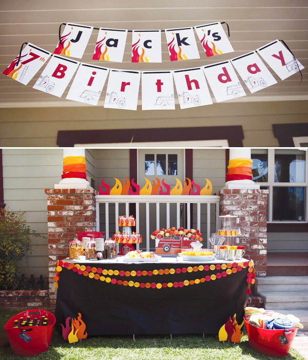 fire truck birthday banner ; fire-truck-birthday-party-decorations-and-banner