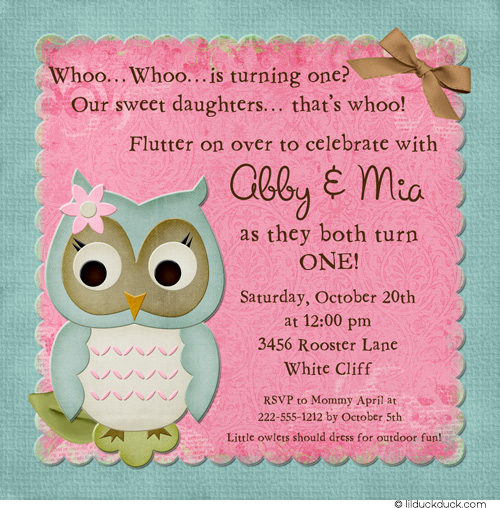 first birthday borders ; Twin-girl-owl-birthday-invitations-pink-teal-sweet-daughters