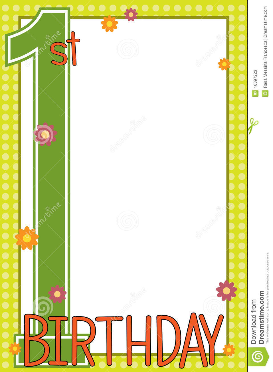 first birthday borders ; first-birthday-card-16397223