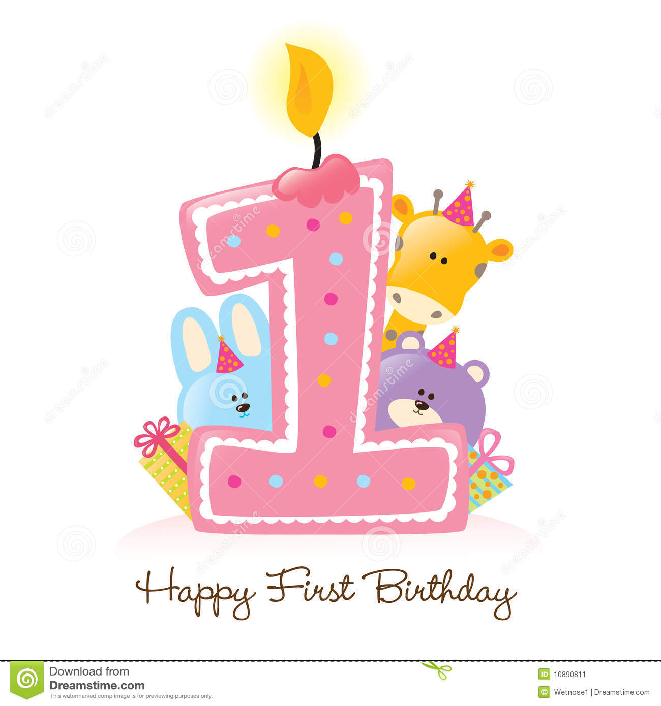 first birthday borders ; happy-first-birthday-candle-animals-isolated-10890811