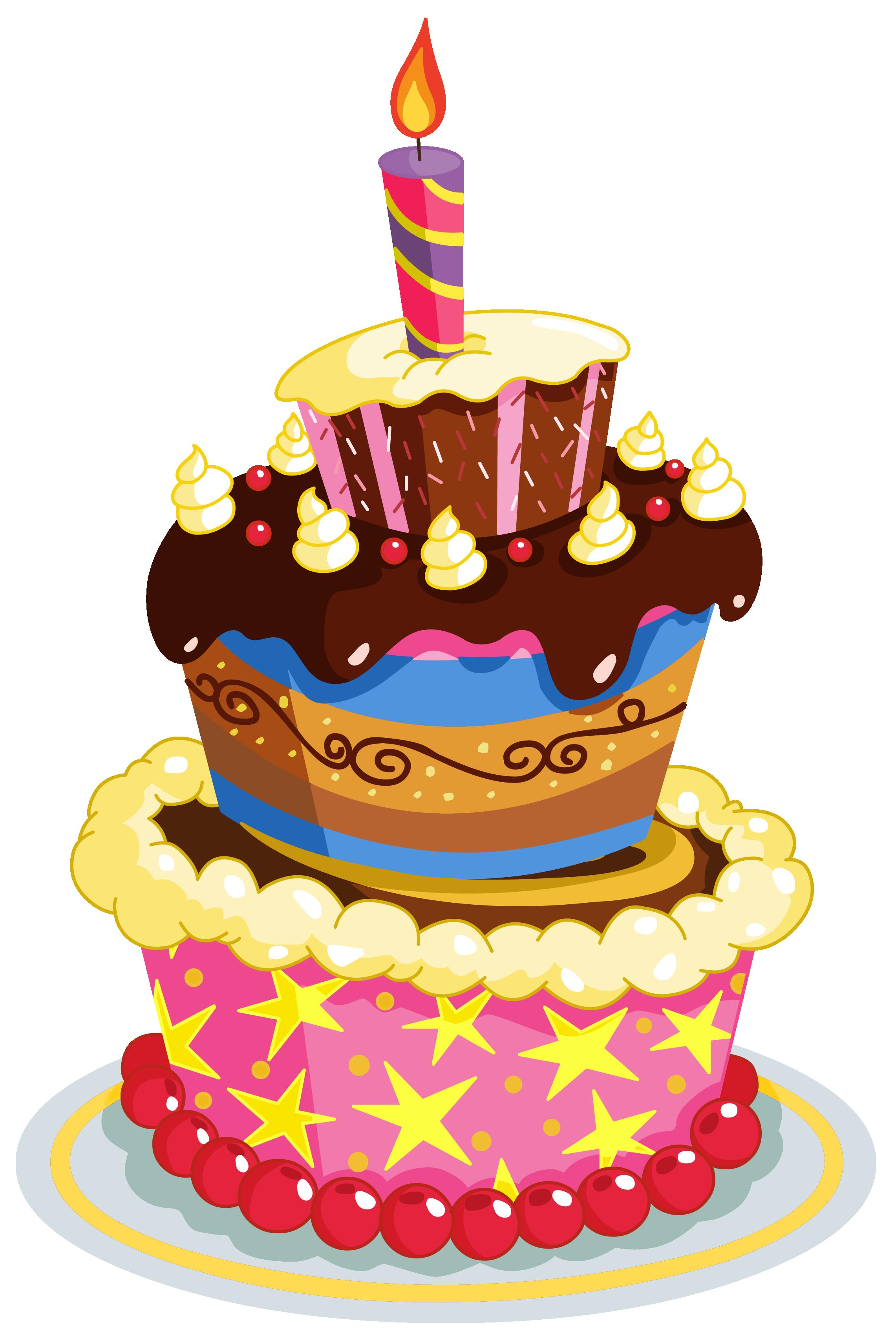 first birthday cake clipart ; Colorful_Birthday_Cake_PNG_Clipart