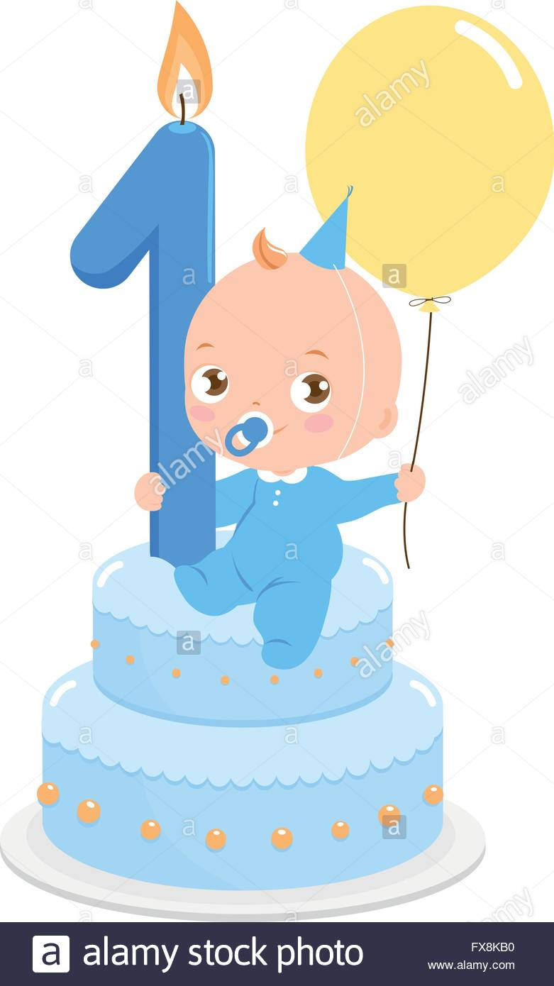 first birthday cake clipart ; baby-boy-on-a-birthday-cake-celebrating-his-first-birthday-holding-FX8KB0