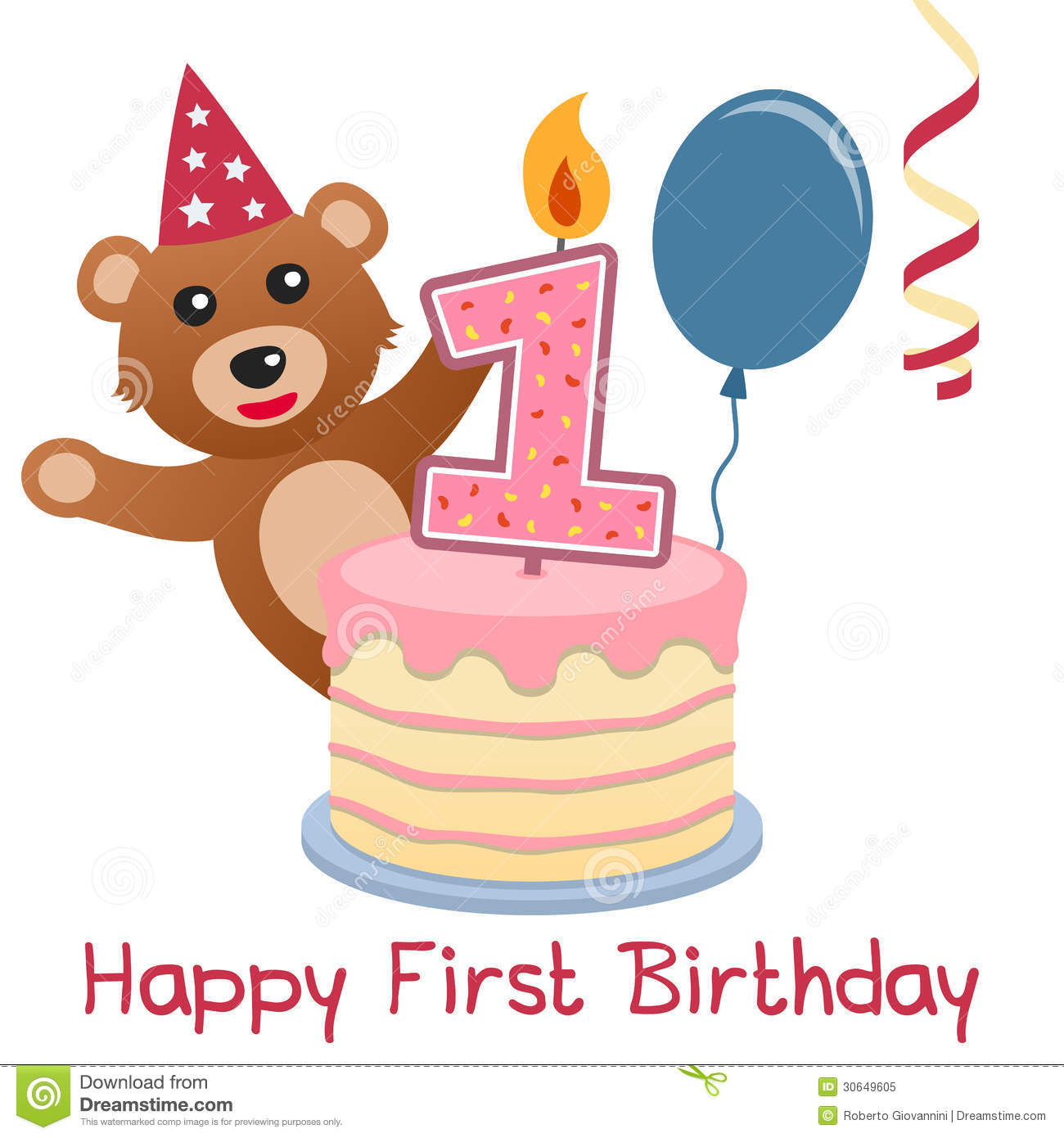 first birthday cake clipart ; first-birthday-teddy-bear-happy-greeting-card-cute-cake-numbered-candle-blue-balloon-red-streamer-30649605