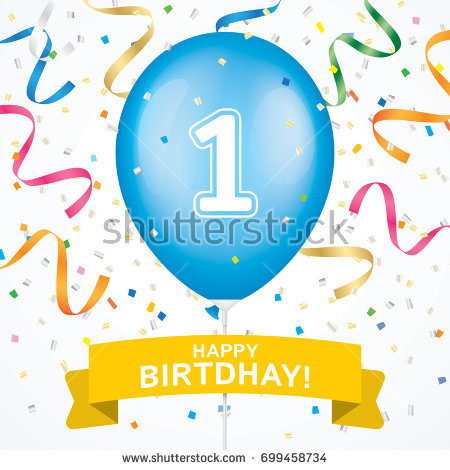 first birthday design ; stock-vector-first-birthday-greeting-card-vector-design-blue-ballon-with-yellow-ribbon-and-colorfull-confetti-699458734