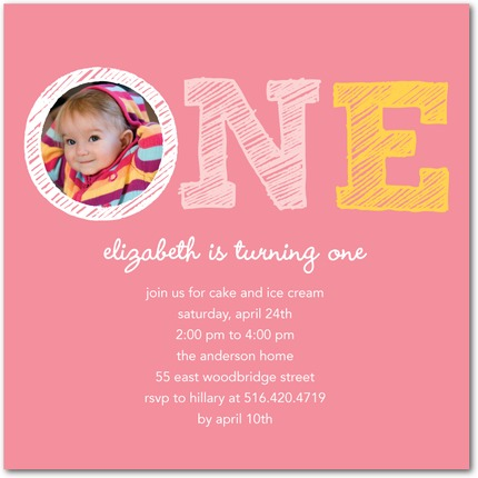 first birthday party photo invitations ; dwell-first-birthday