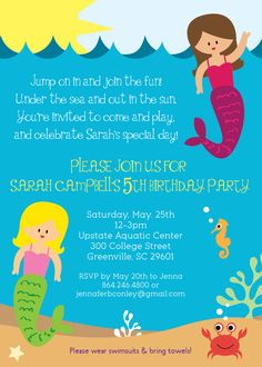 First Birthday Pool Party Invitation Wording 3rd