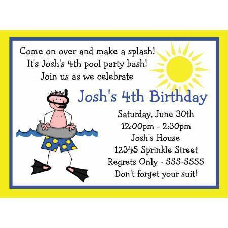 first birthday pool party invitation wording ; 780