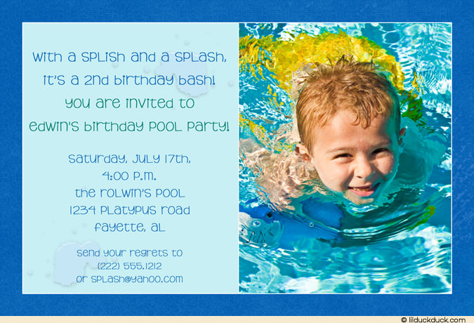 first birthday pool party invitation wording ; custom-colored-birthday-pool-party-blue-invitation