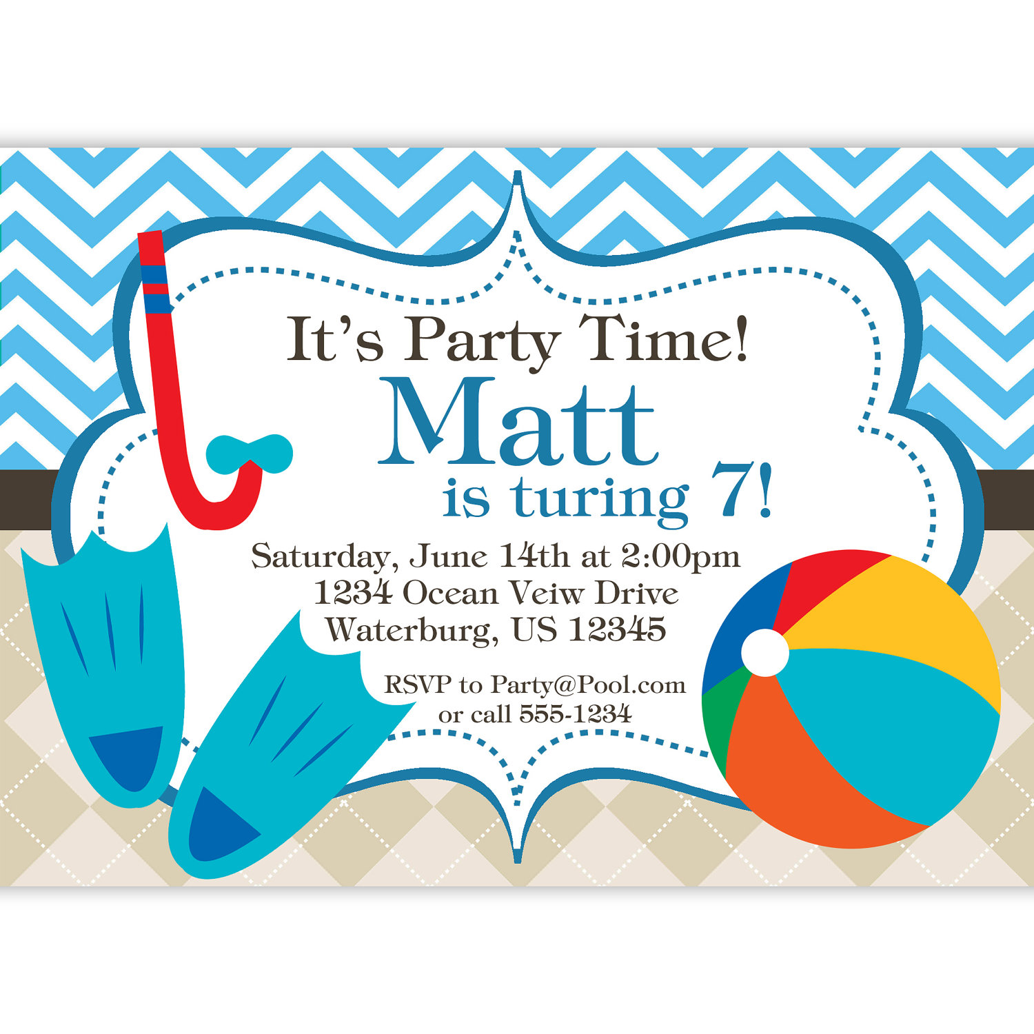 first birthday pool party invitation wording ; pool2