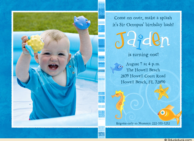 first birthday pool party invitation wording ; undersea-turquoise-fish-boy-blue-1-photo-birthday