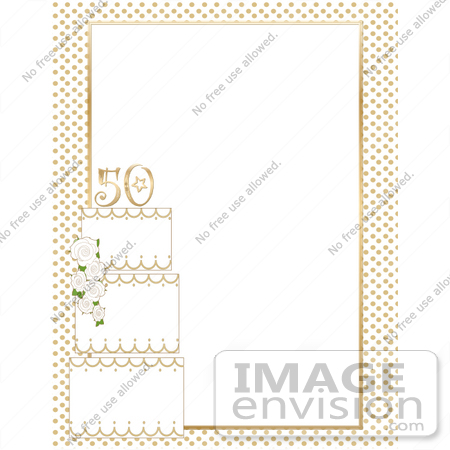 free 50th birthday clip art borders ; 33605-clip-art-graphic-of-a-white-and-gold-50th-anniversary-cake-on-a-stationery-border-by-maria-bell