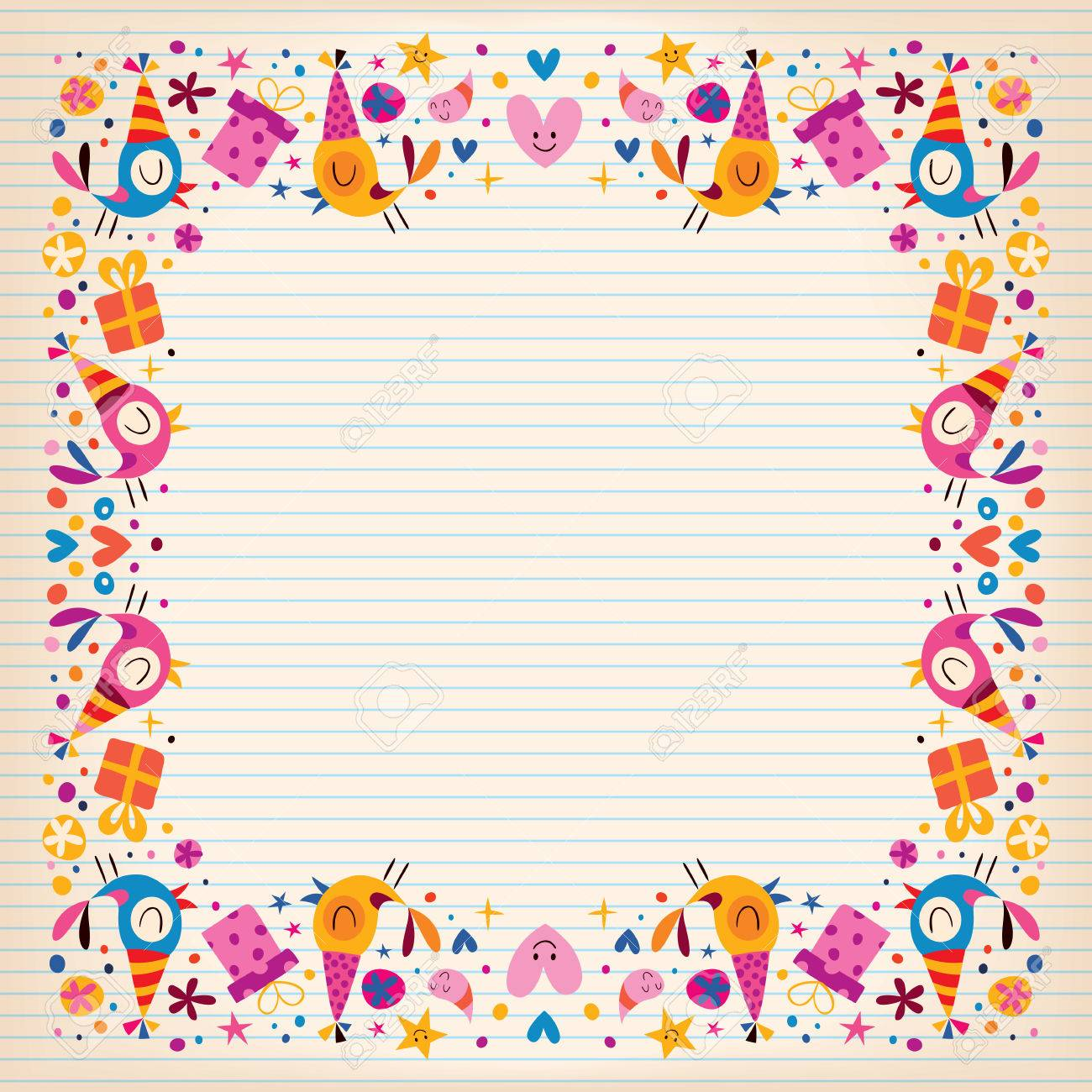 free birthday border paper ; 32044780-happy-birthday-border-lined-paper-card-with-space-for-text