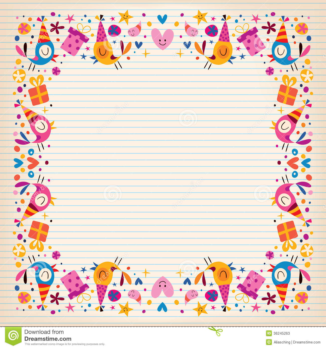 free birthday border paper ; happy-birthday-border-lined-paper-card-space-text-decorative-frame-design-36245263