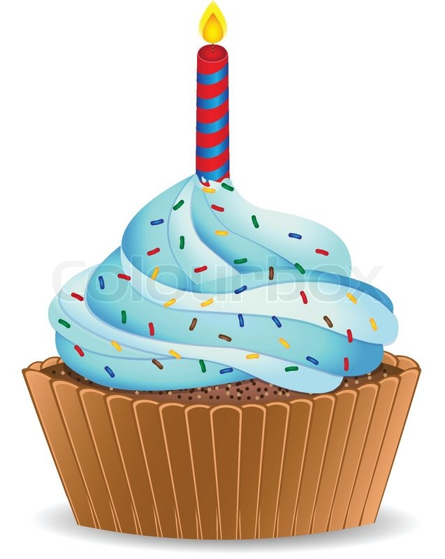 free birthday cupcake clipart ; 4292139-birthday-cupcake