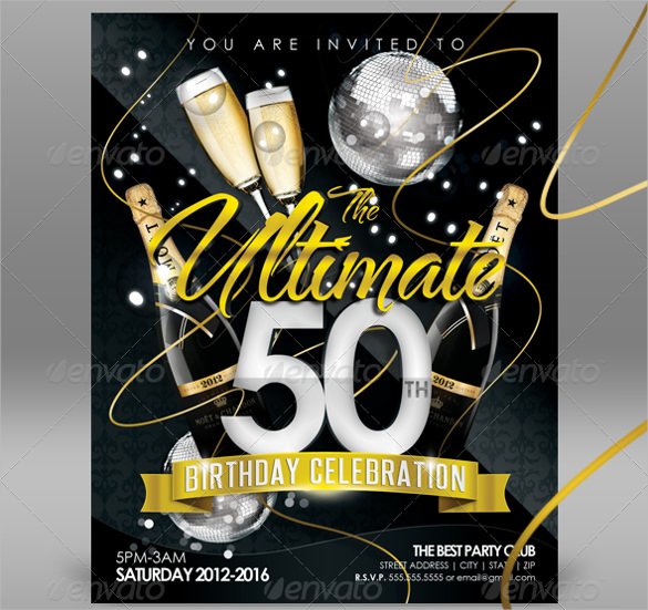 free birthday invitation card templates for word ; Creative-And-beautiful-50th-birthday-invitation-template