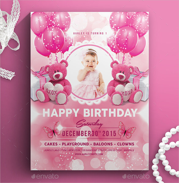 free birthday invitation templates ; Pink-Colour-Kids-Birthday-Invitation-Template