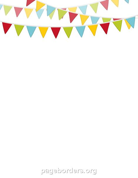 free birthday page borders ; bunting-border-preview
