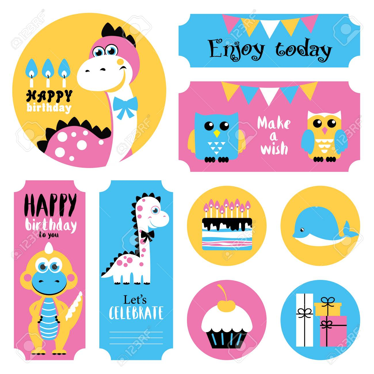 free birthday stickers ; 81047970-cute-happy-birthday-stickers-set-vector-illustration