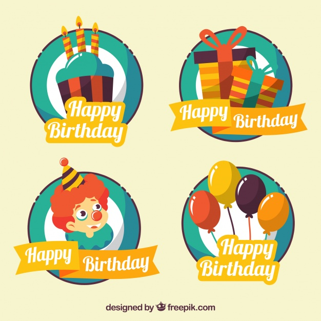 free birthday stickers ; pack-of-vintage-birthday-stickers-with-elements_23-2147600900