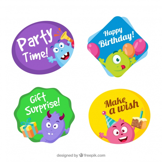 free birthday stickers ; set-of-cute-birthday-stickers-with-monsters_23-2147648241