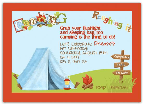 free camping birthday party invitation templates ; 5aa1a11aaf01ff6d0b66f31796182bc2