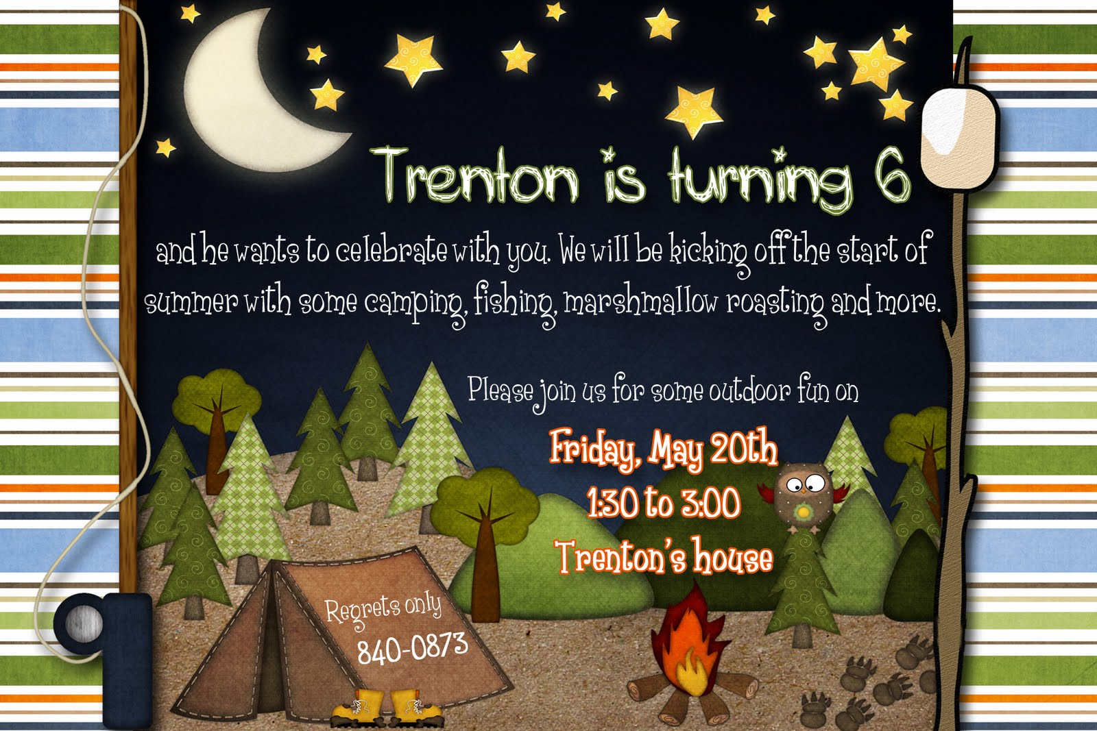 free camping birthday party invitation templates ; Camping+party