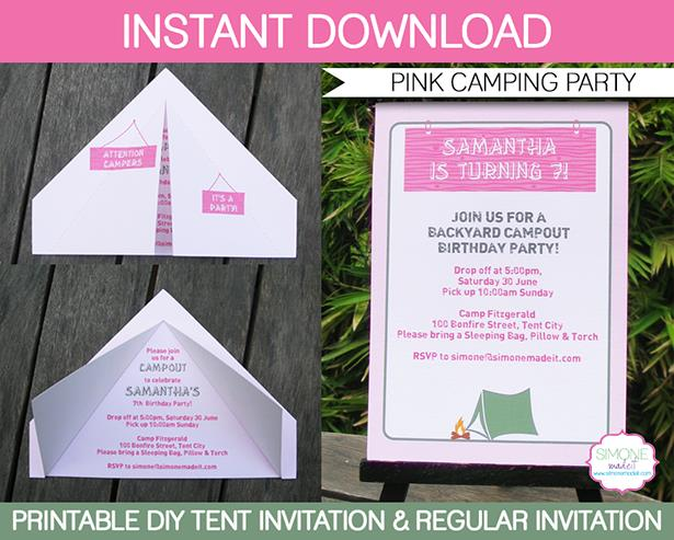 free camping birthday party invitation templates ; Printable-Pink-Camping-Party-Tent-Invitation-Template