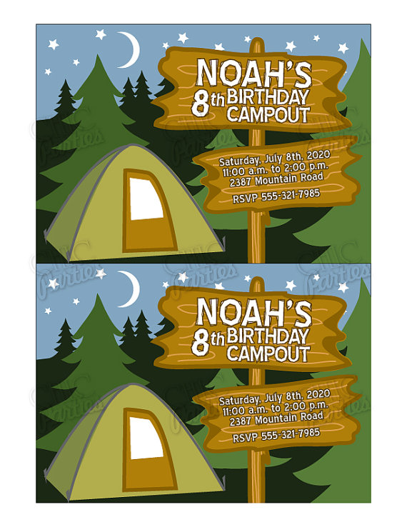 free camping birthday party invitation templates ; c7c776738adcf07bd5bef815f7f6d15d