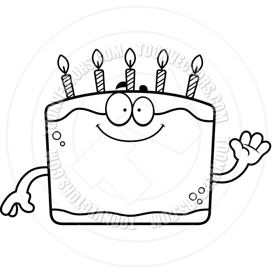 free clipart birthday cake black and white ; birthday-line-clipart-1