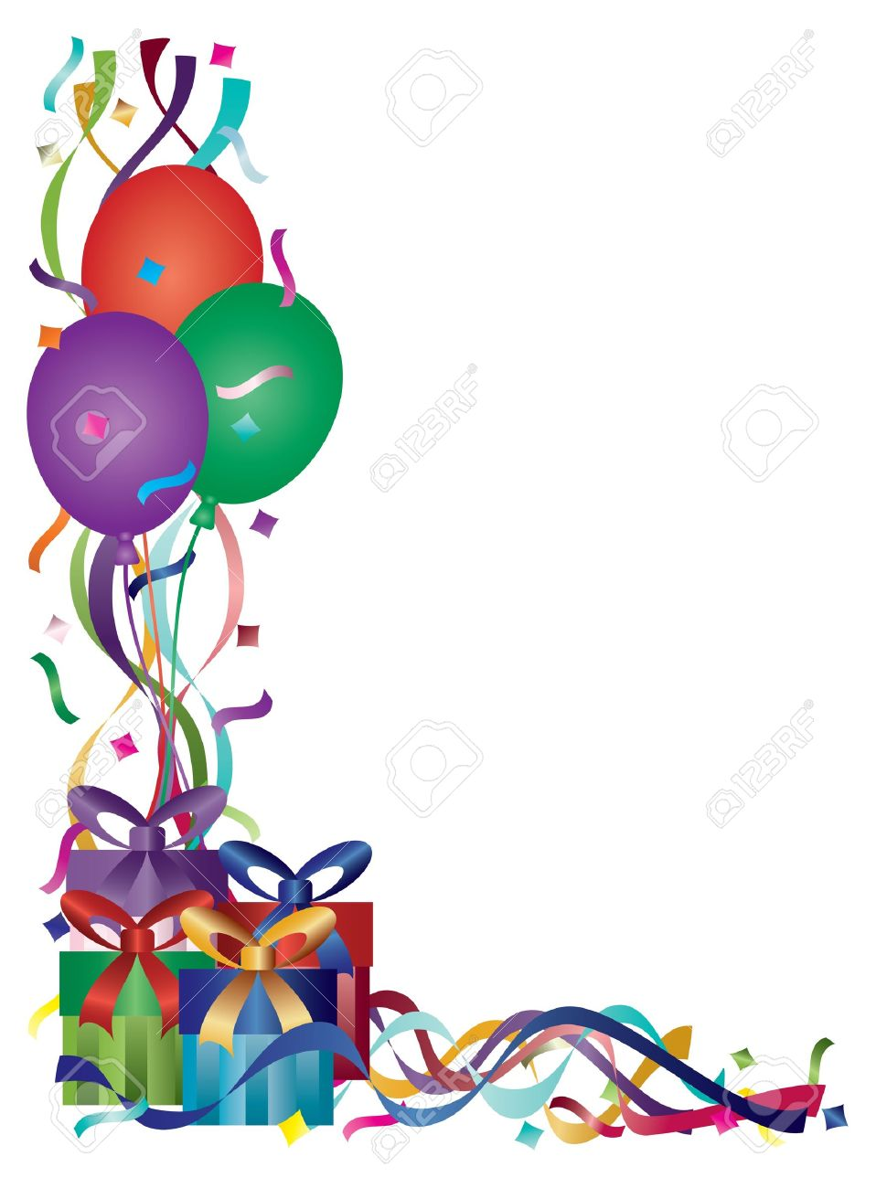 free clipart birthday presents ; 16008403-birthday-presents-with-colorful-ribbons-and-confetti-border-background-illustration