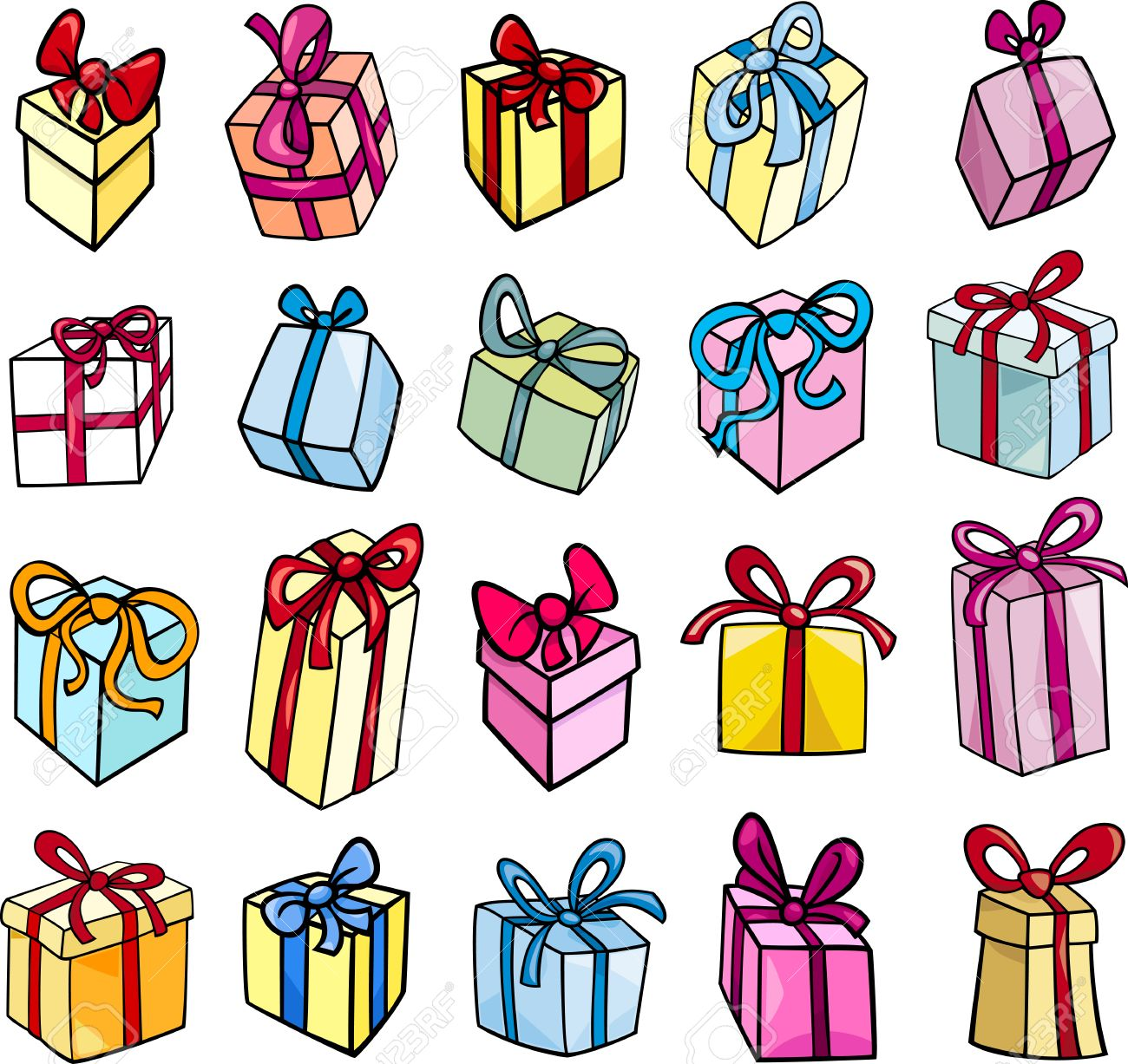free clipart birthday presents ; 23321328-cartoon-illustration-of-christmas-or-birthday-presents-or-gifts-objects-clip-art-set