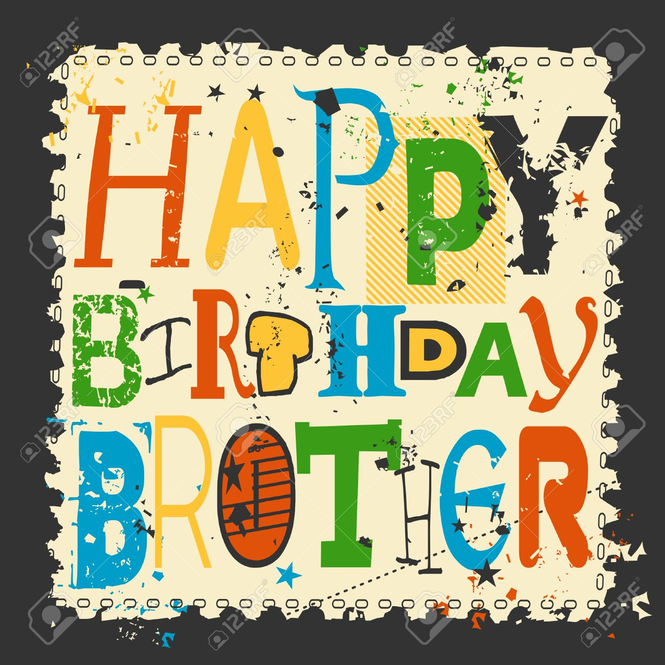 free happy birthday brother clipart ; 52938752-retro-happy-birthday-card-on-grunge-background-happy-birthday-brother-vector-illustration