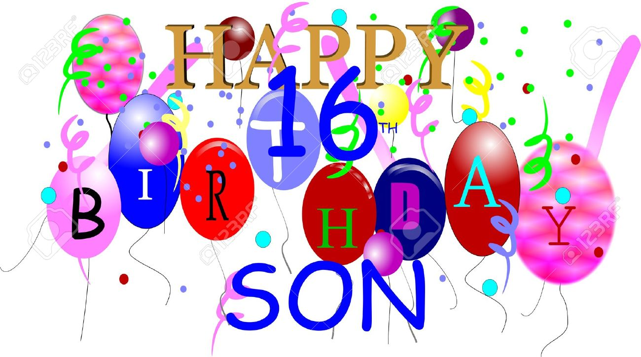 free happy birthday son clipart ; 6979579-happy-16th-birthday-son-in-3d-on-white