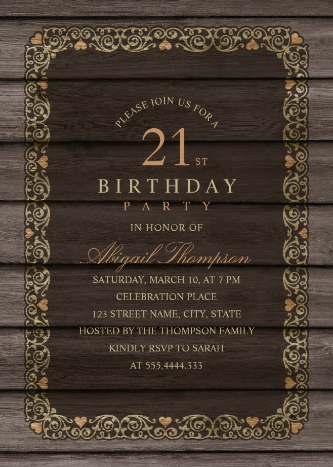 free online 21st birthday invitation templates ; Fancy-Wood-21st-Birthday-Invitations-Rustic-Country-Invitation-Templates