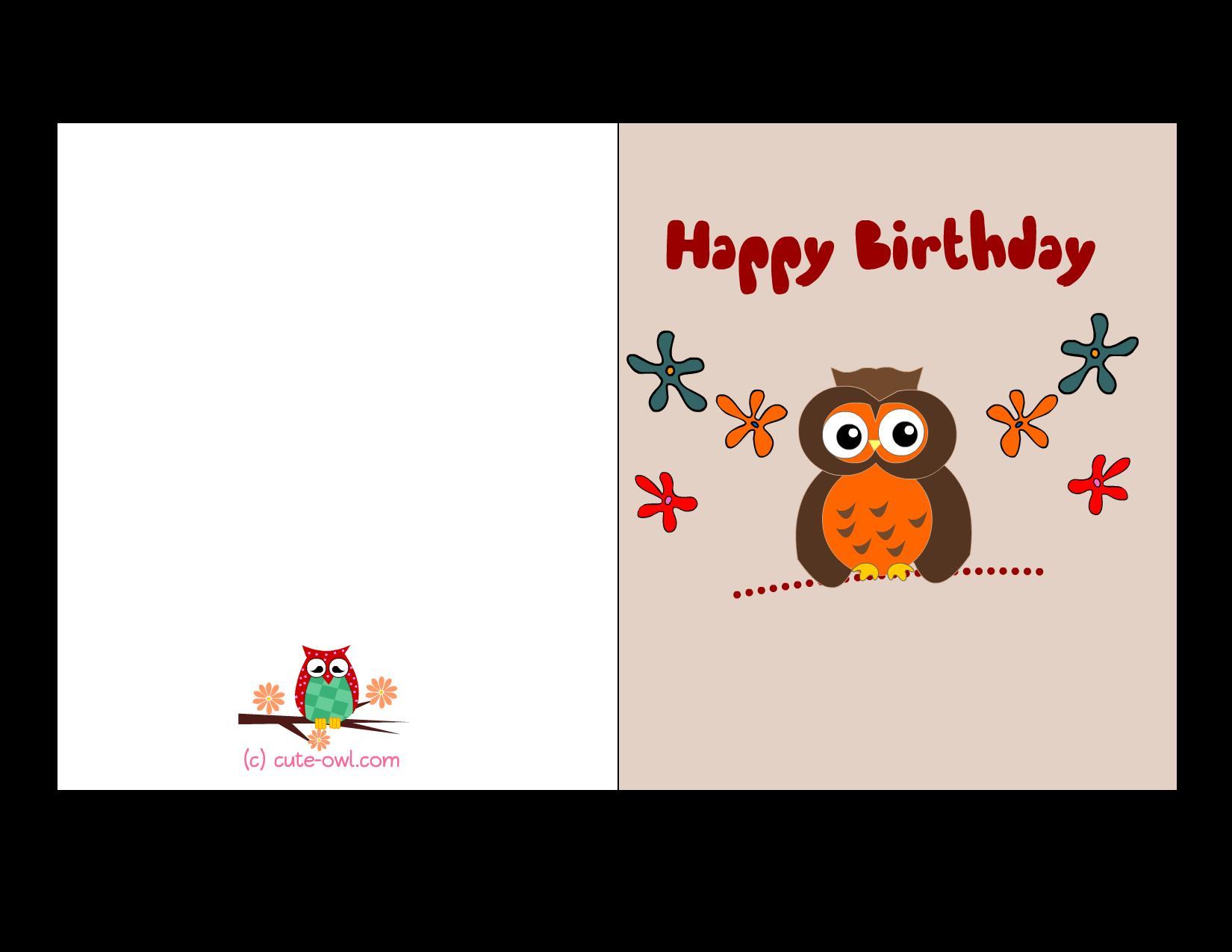 free printable 18th birthday cards ; colorful-happy-birthday-card-featuring-cute-owl-dark-brown-owl-animal-color-images-flower-items-design-birthday-cards-printable