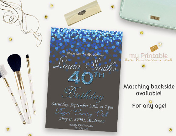 free printable 40 birthday invitations ; 40th-Birthday-Invitation-Digital-Printable-Glitter-Birthday-Invite-for-Adults