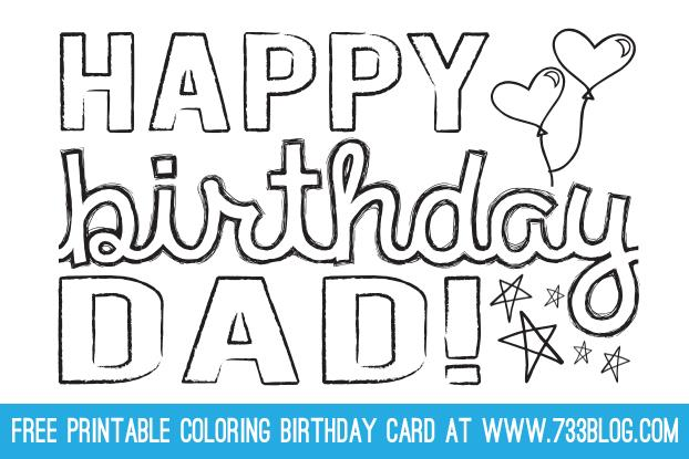 free printable coloring cards for birthdays ; dad-birthday-card