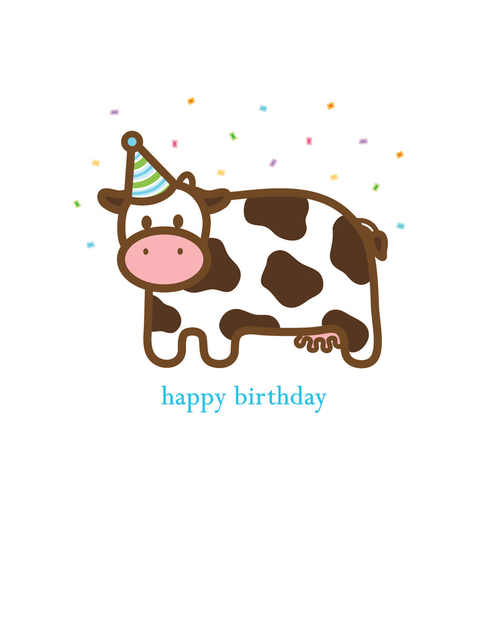 free printable cow birthday invitations ; Sample-Cow-Happy-Birthday-Card-Invitation-and-White-Background-Colors-plus-Blue-Font-Color-for-Kids-Celebrate