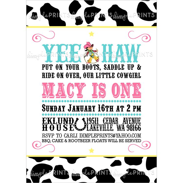 free printable cow birthday invitations ; vintagecowgirl_cowprintpink