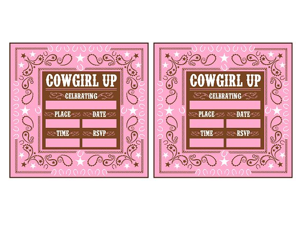 free printable cowgirl birthday party invitations ; cowgirlinvitations