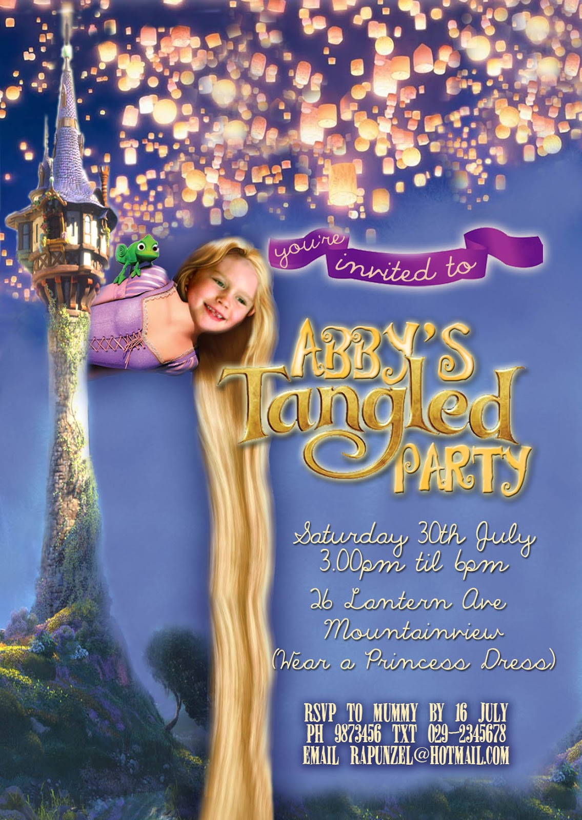 free printable rapunzel birthday party invitations ; Tangled+invite+personalised+A5