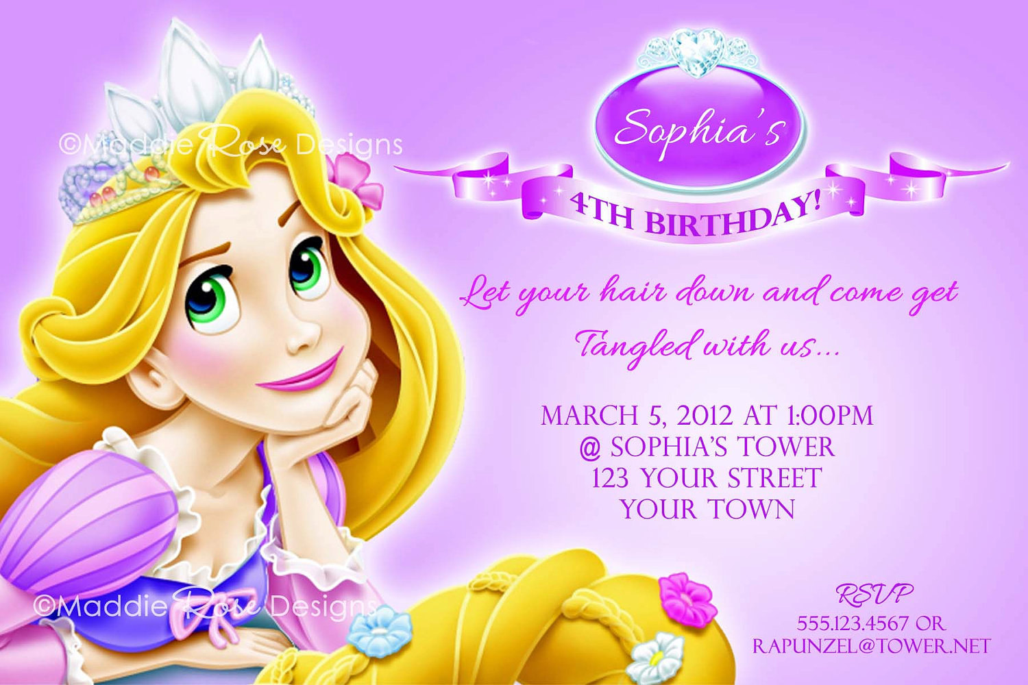 Free Printable Rapunzel Birthday Party Invitations Il Fullxfull