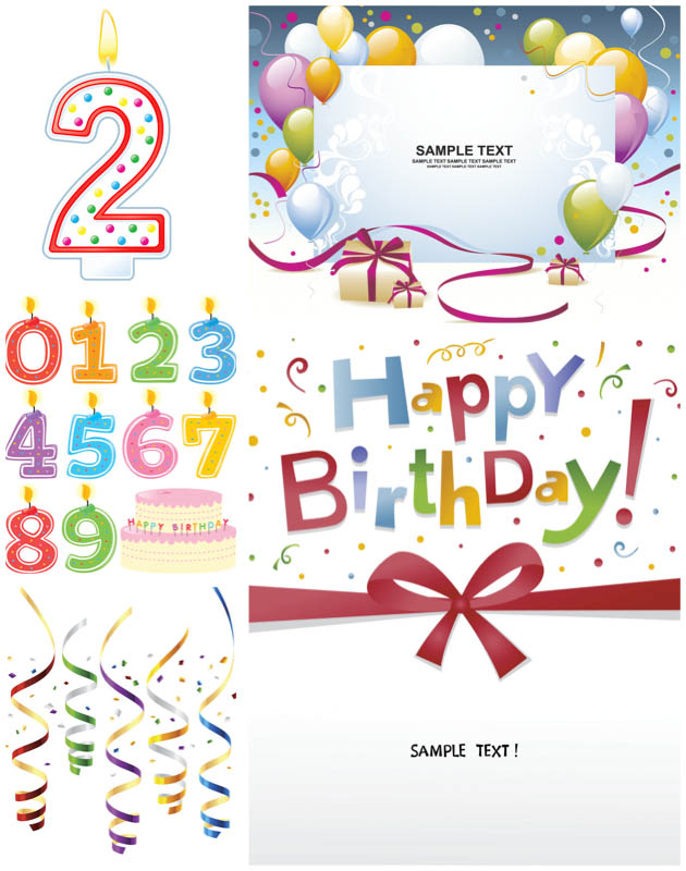 free vector birthday card designs ; birthday-card-design-elements-vector