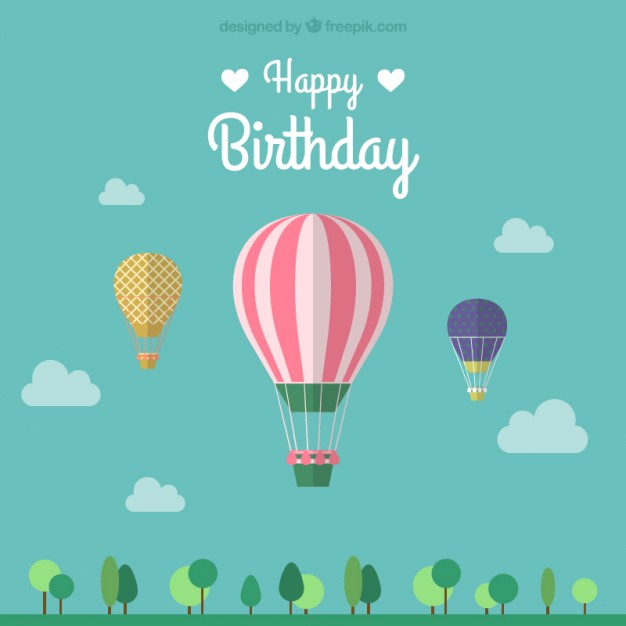 free vector birthday card designs ; birthday-card-with-three-hot-air-balloons_23-2147492499