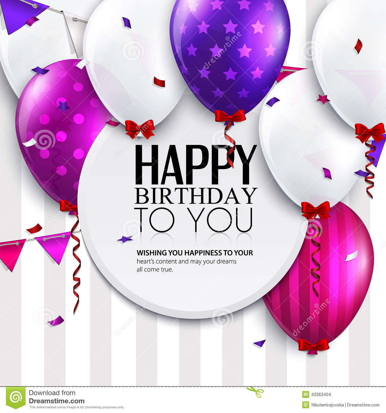 free vector birthday card designs ; vector-birthday-card-balloons-bunting-flags-stripes-background-43363404