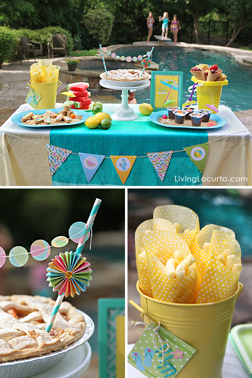 fun birthday party themes ; Pool-Party-Dessert-Table